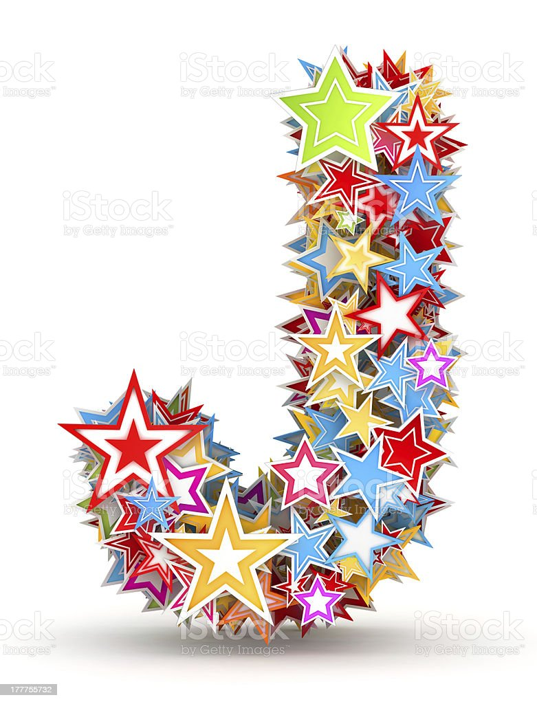 Letter Jfrom colored stars stock photo