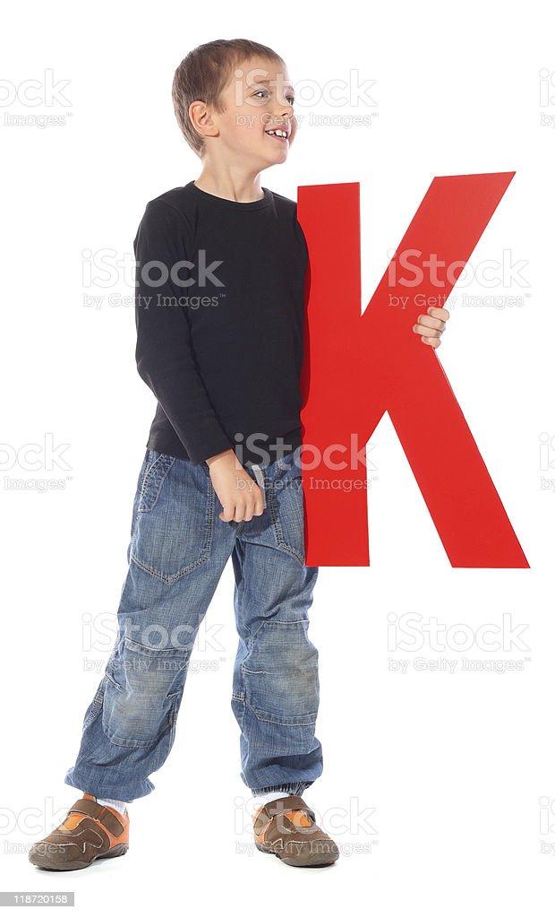 Letter 'K' boy royalty-free stock photo