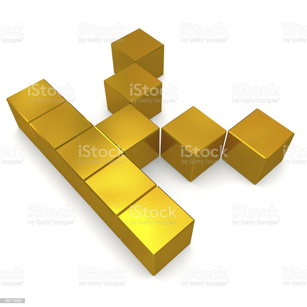 letter K cubic golden royalty-free stock photo