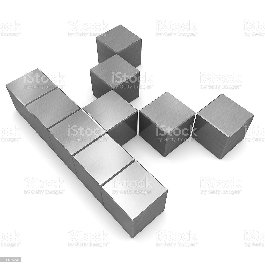 letter K cubic metal royalty-free stock photo