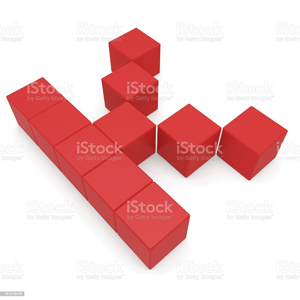 letter K cubic red royalty-free stock photo