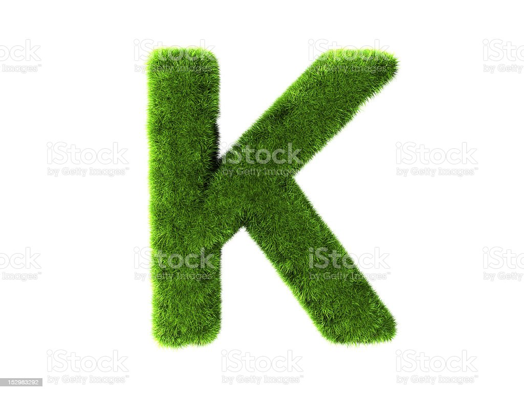 Letter K grass royalty-free stock photo