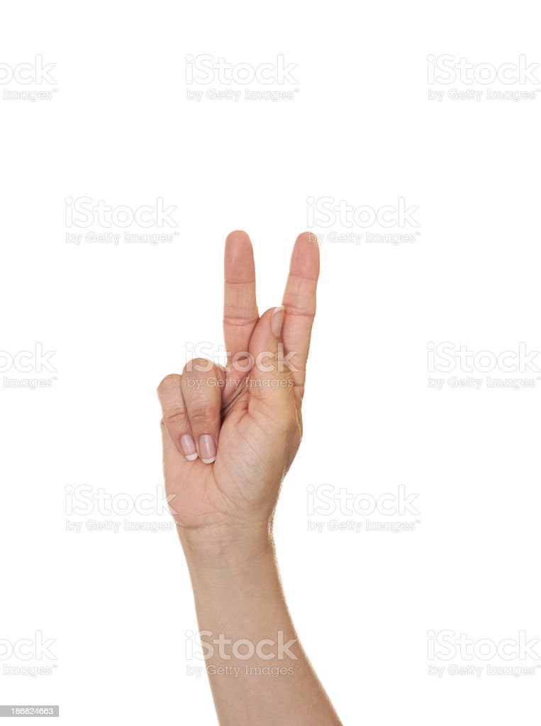 Letter K in American Sign Language stock photo