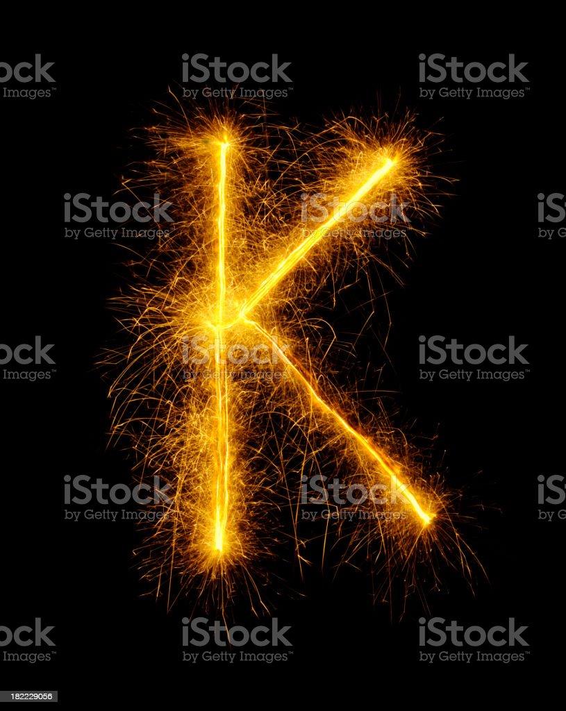 Letter K in Fireworks royalty-free stock photo