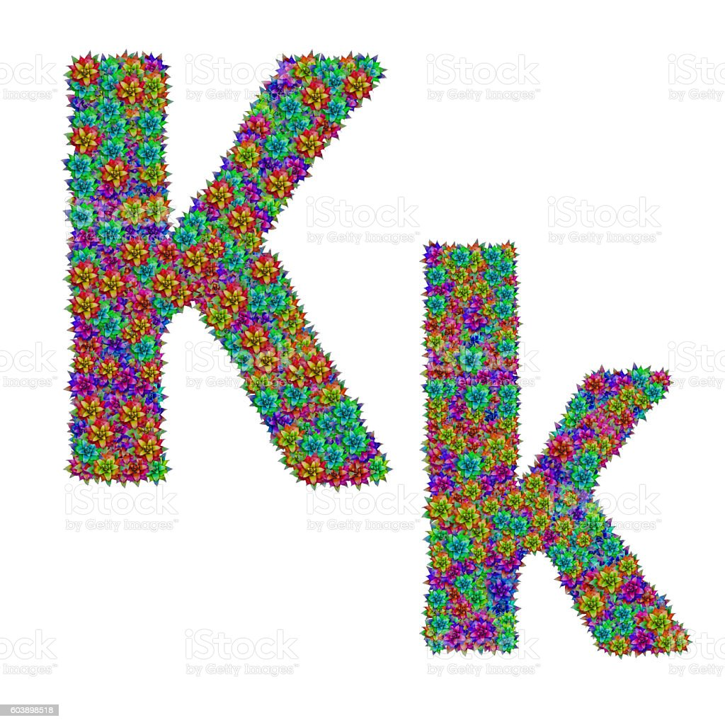 letter K made from bromeliad flowers stock photo