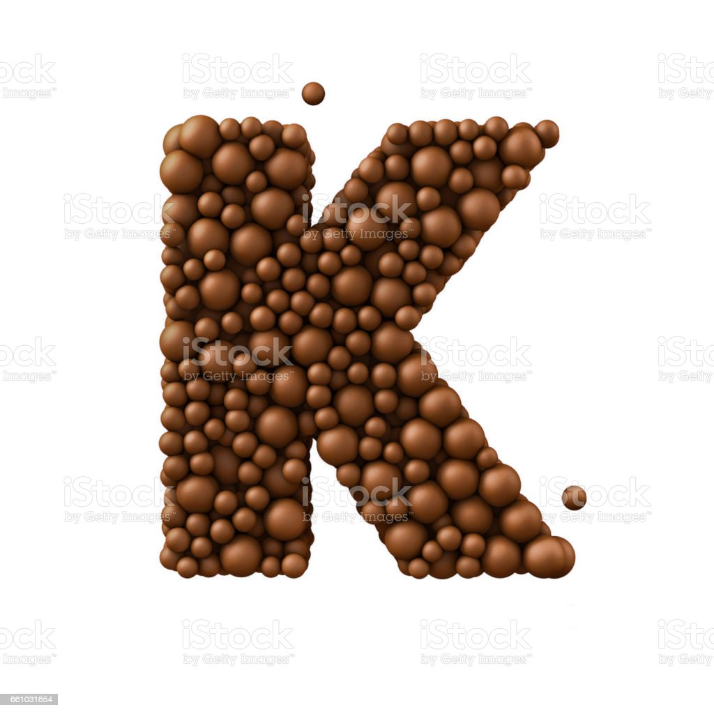 Letter K made of chocolate bubbles, milk chocolate concept, 3d render stock photo