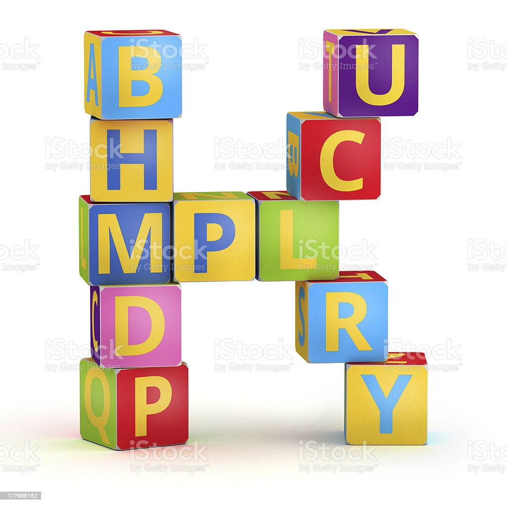 Letter K maked from abc cubes royalty-free stock photo
