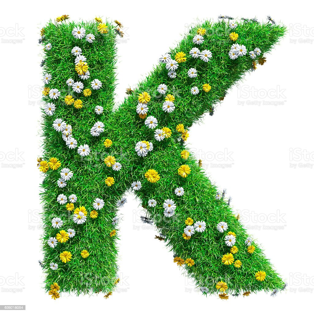 Letter K Of Green Grass And Flowers stock photo