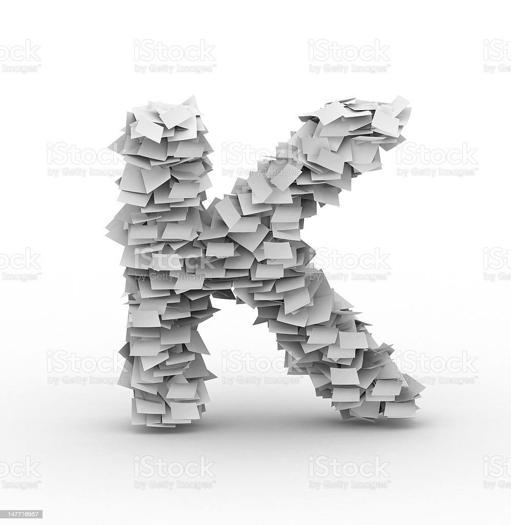 Letter K, stacked from paper sheets royalty-free stock photo