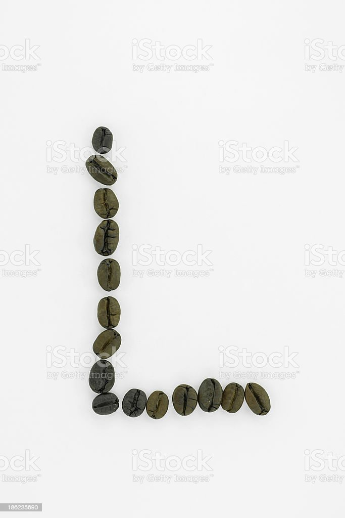 Letter L, alphabet from coffee beans isolated on white background stock photo