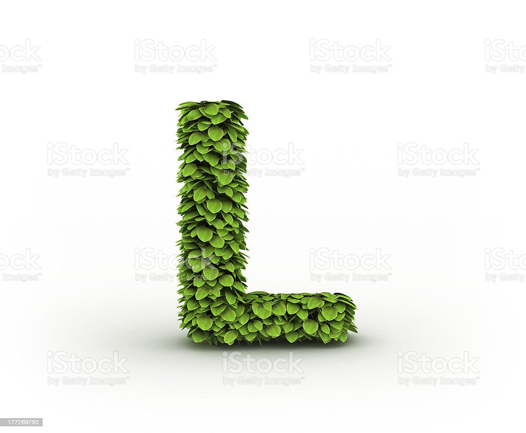 Letter L, alphabet of green leaves royalty-free stock photo