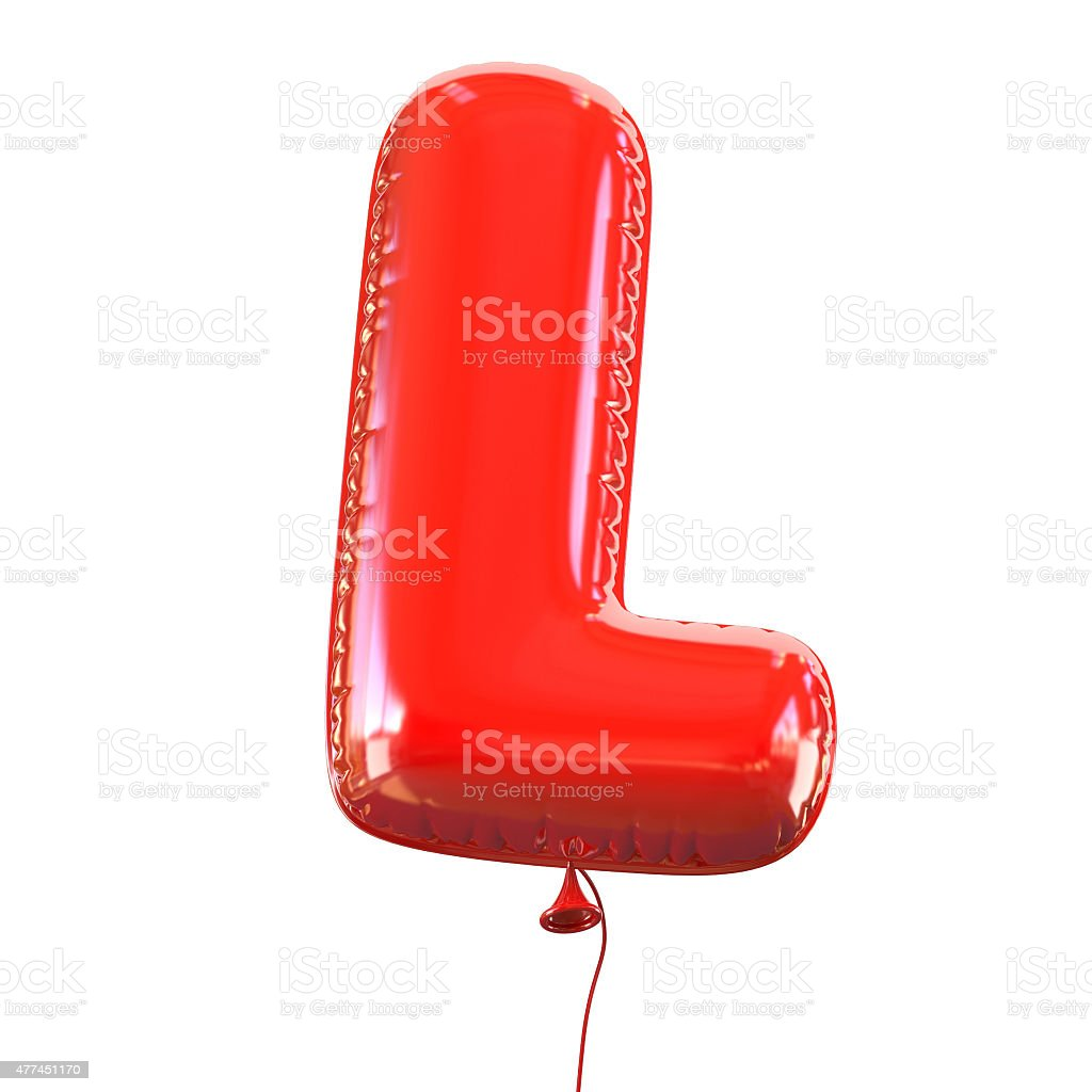 Letter L balloon font stock photo