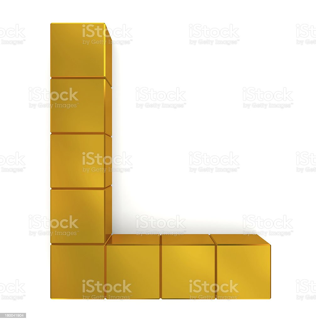 letter L cubic golden royalty-free stock photo