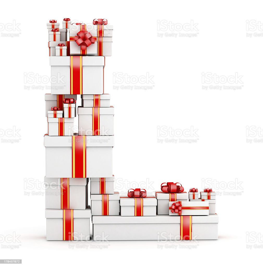 Letter L from boxes of gifts decorated with red ribbons royalty-free stock photo