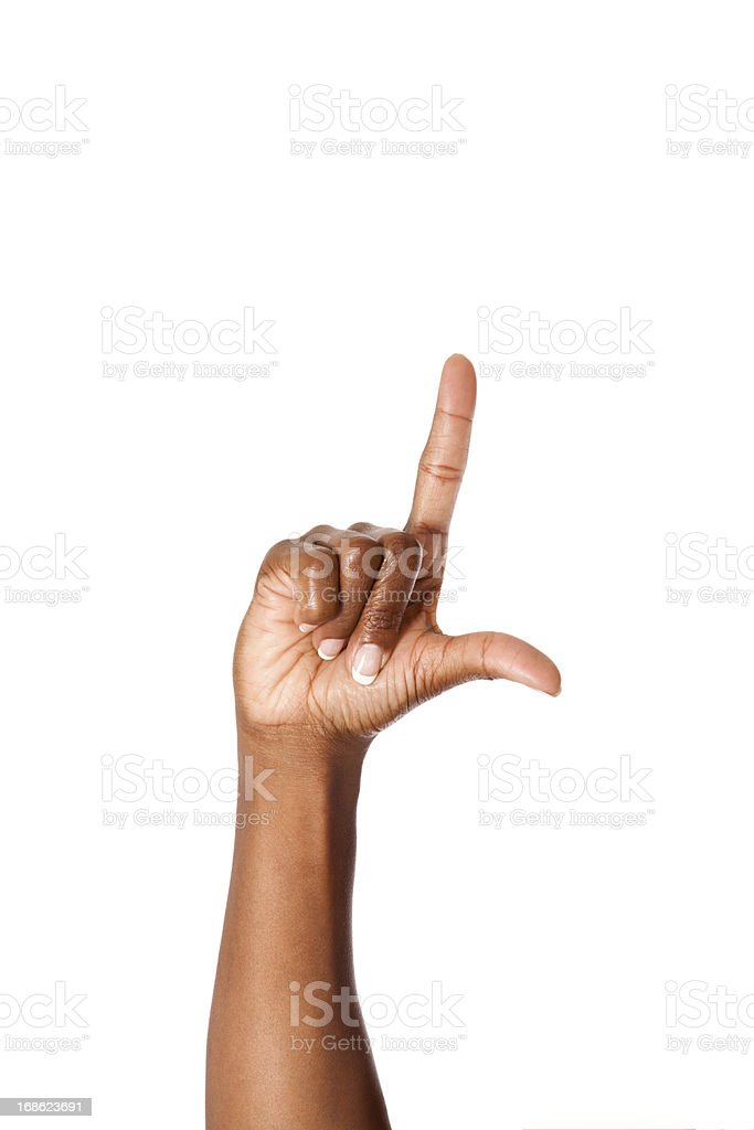 Letter L in American Sign Language stock photo