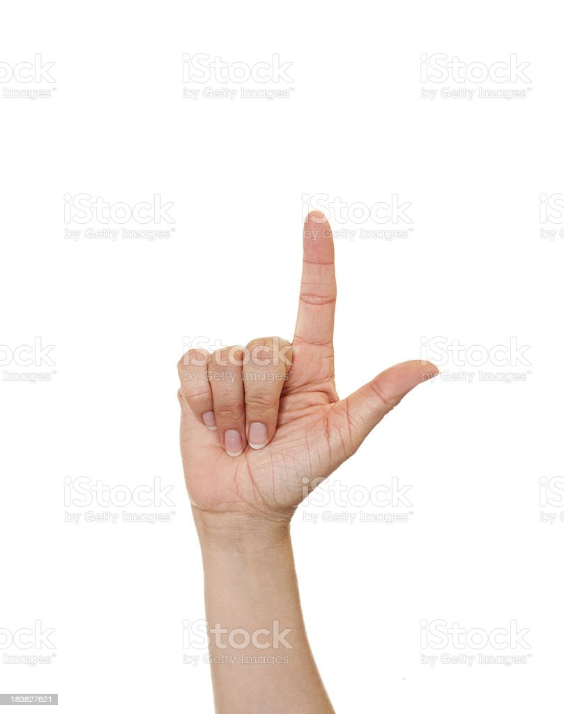 Letter L in American Sign Language royalty-free stock photo