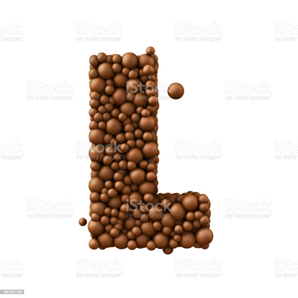 Letter L made of chocolate bubbles, milk chocolate concept, 3d render stock photo