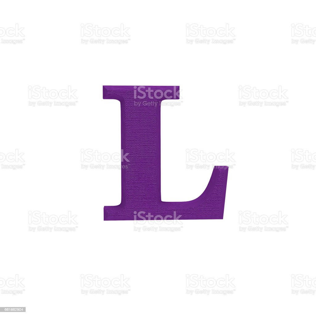 Letter L made of cloth, tissue texture, 3d illustration stock photo