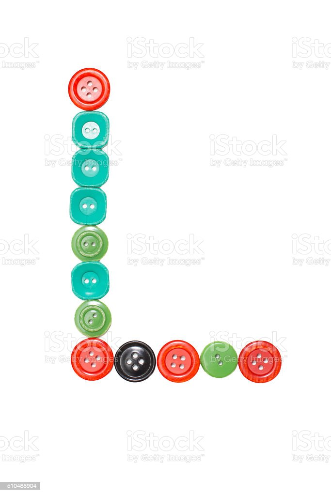 letter L made of colors buttons stock photo