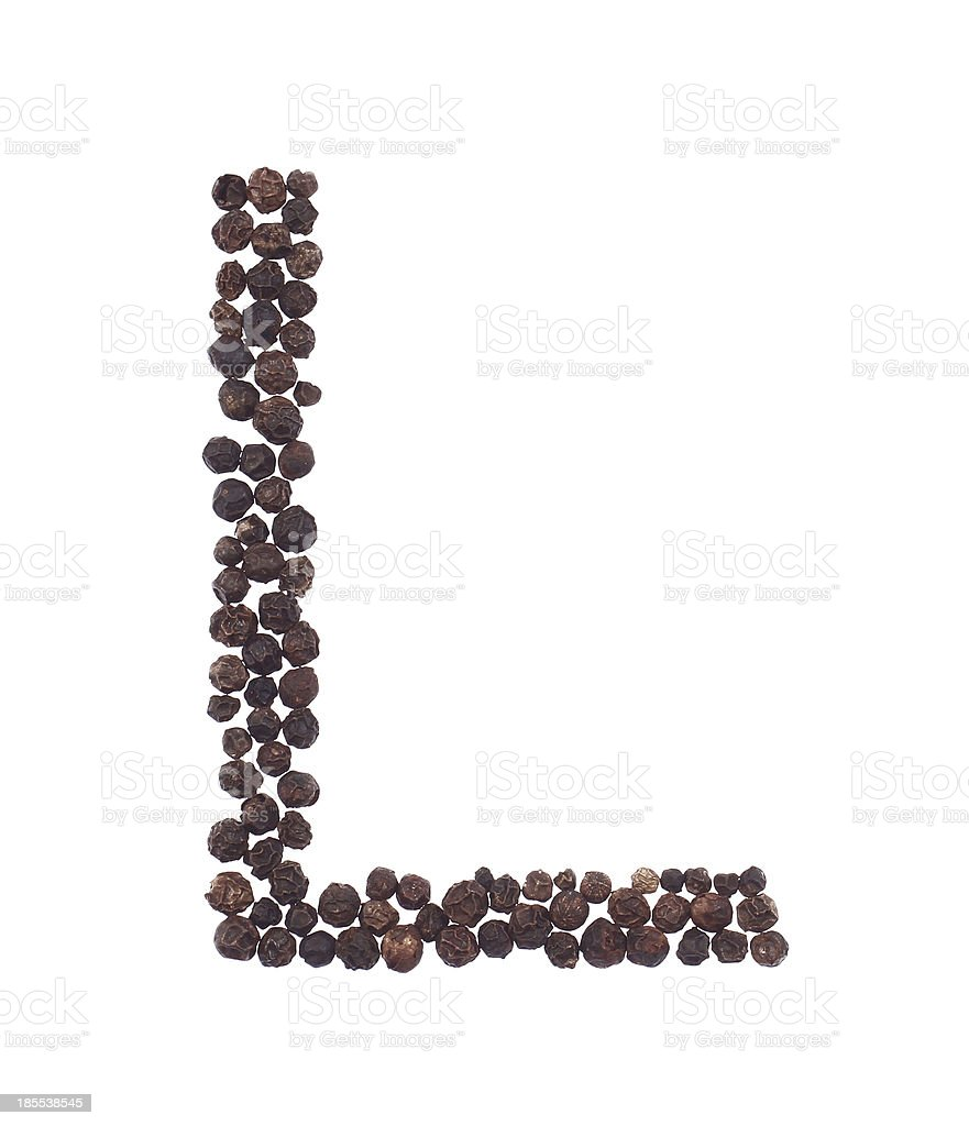 letter L made of pepper royalty-free stock photo