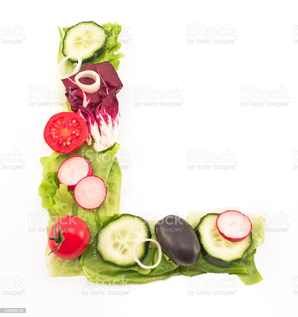 Letter L made of salad stock photo