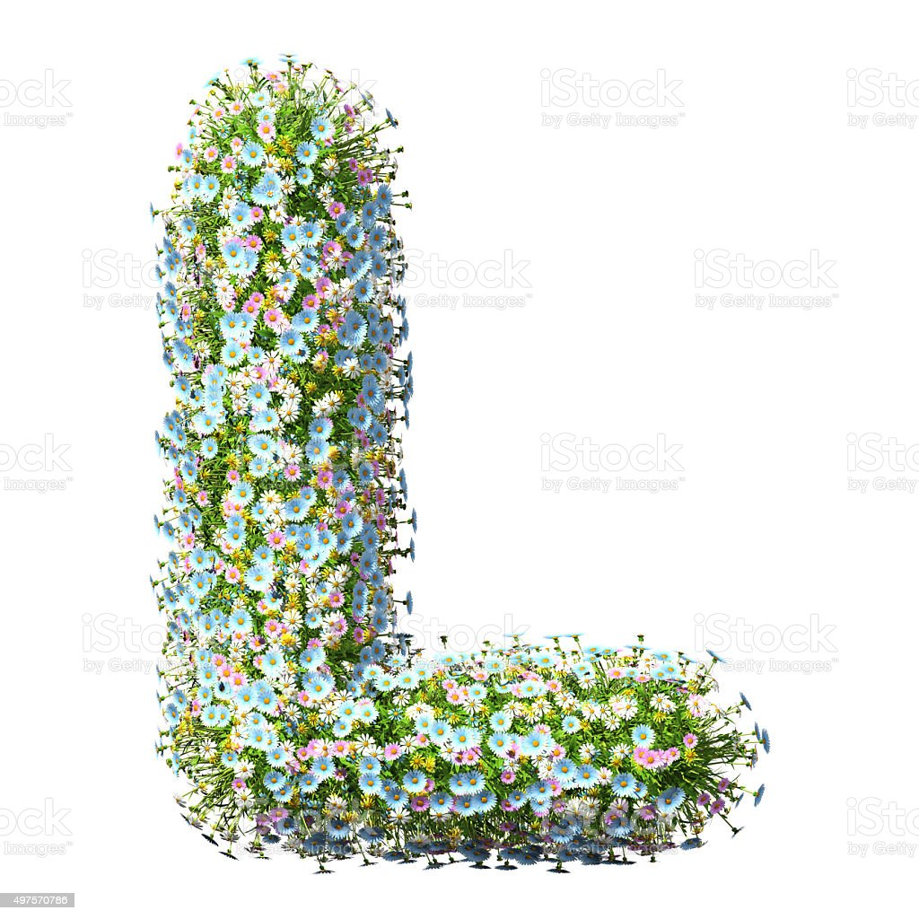 Letter L Of Flowers stock photo