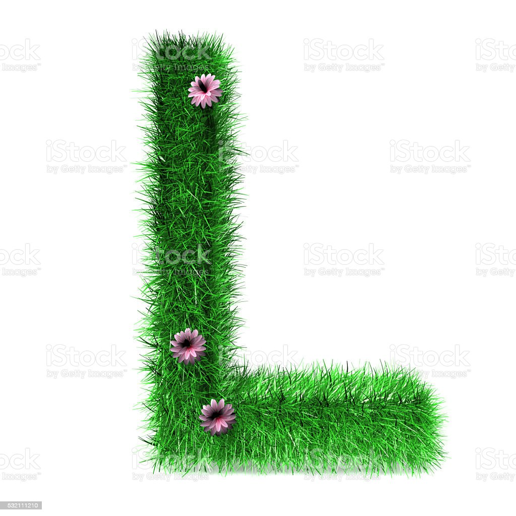 Letter L of Grass And Flowers stock photo