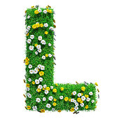 Letter L Of Green Grass And Flowers