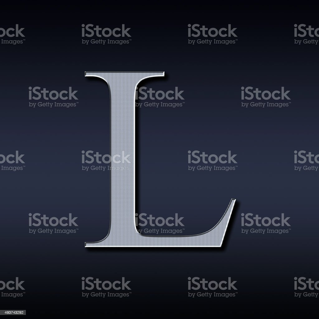 letter L on a black  background stock photo