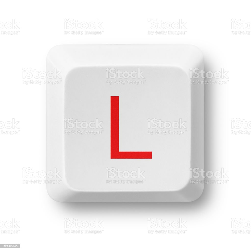 Letter L on a computer key isolated on white stock photo
