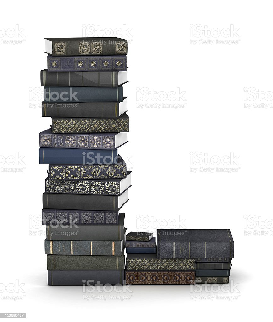 Letter L, stack of books royalty-free stock photo