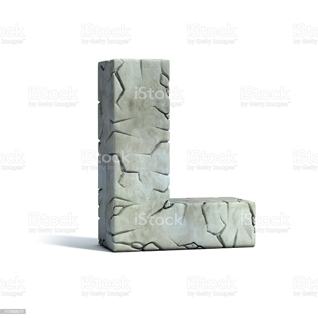letter L stone 3d font stock photo