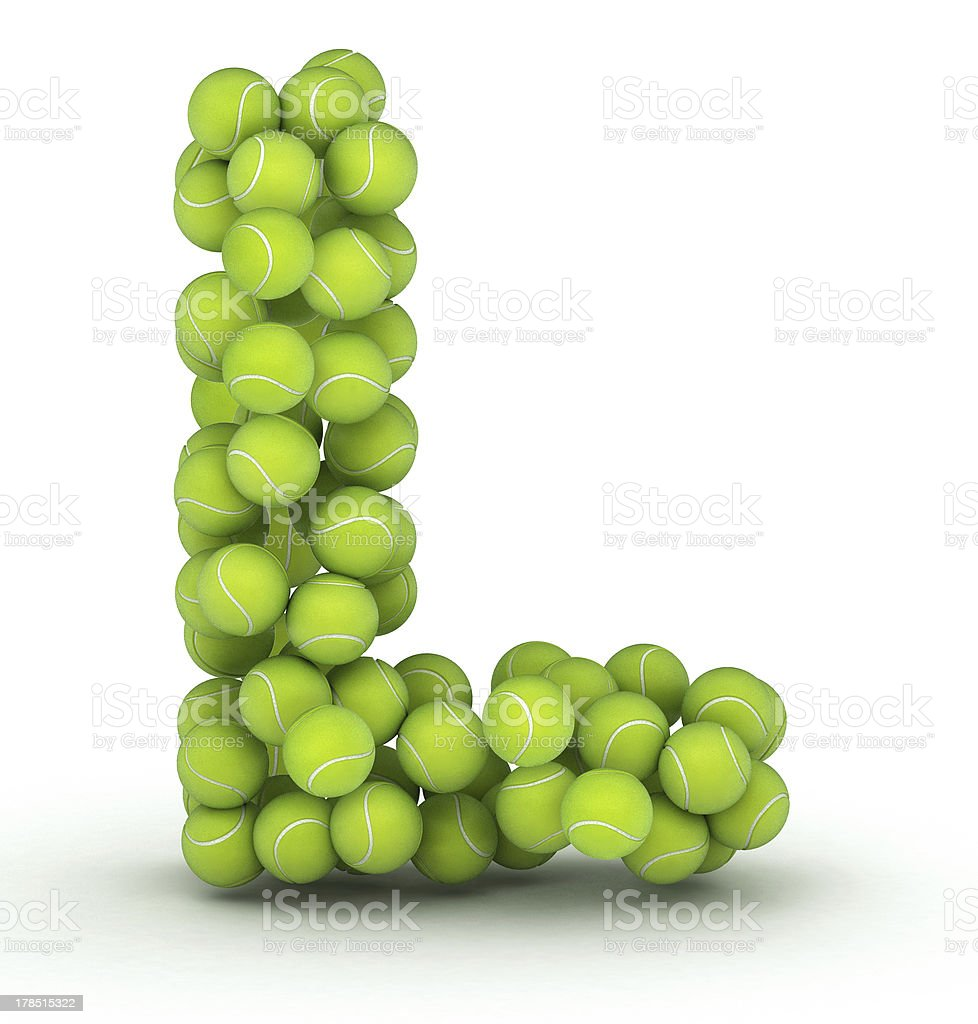 Letter L, tennis balls alphabet royalty-free stock photo