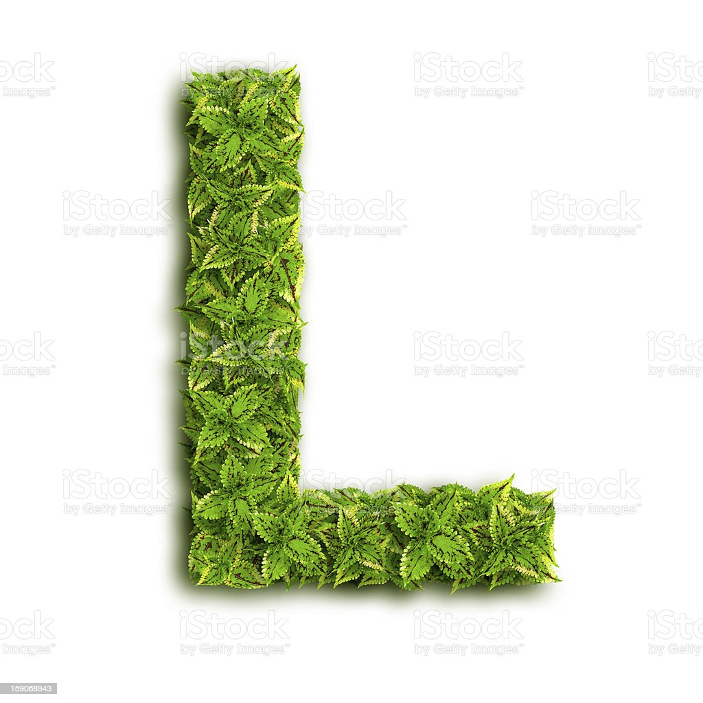 Letter L With Leaves royalty-free stock photo