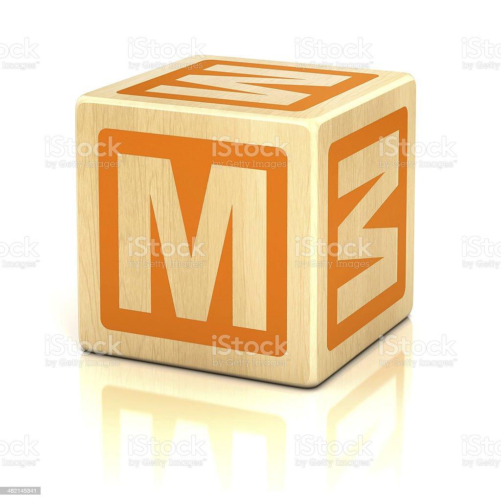letter M alphabet cubes font stock photo