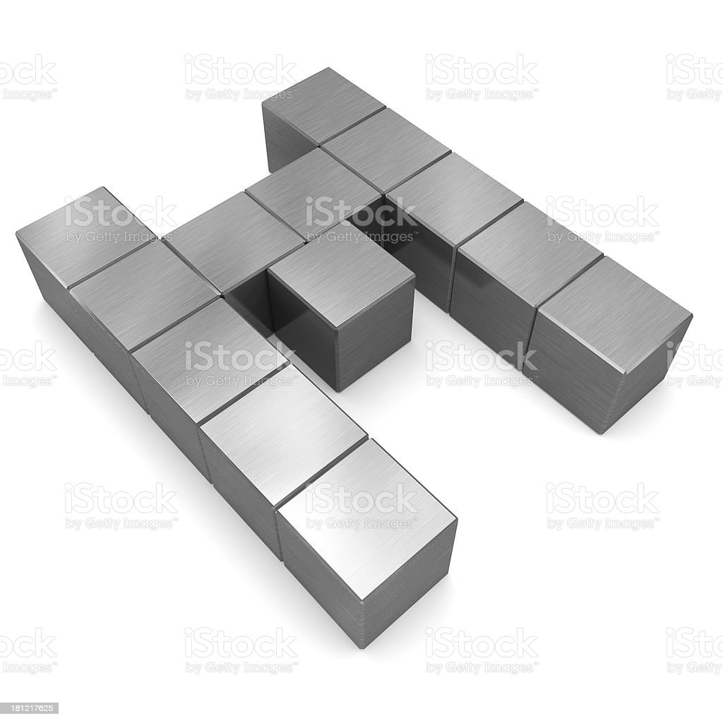 letter M cubic metal royalty-free stock photo