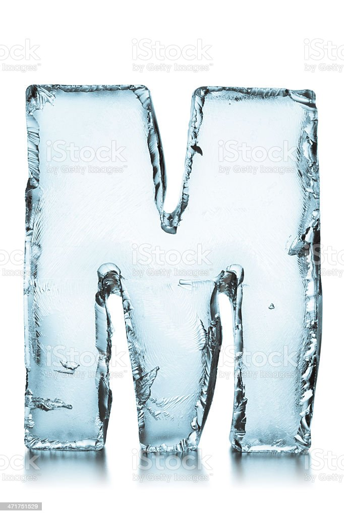 Letter M frozen ice block alphabet stock photo
