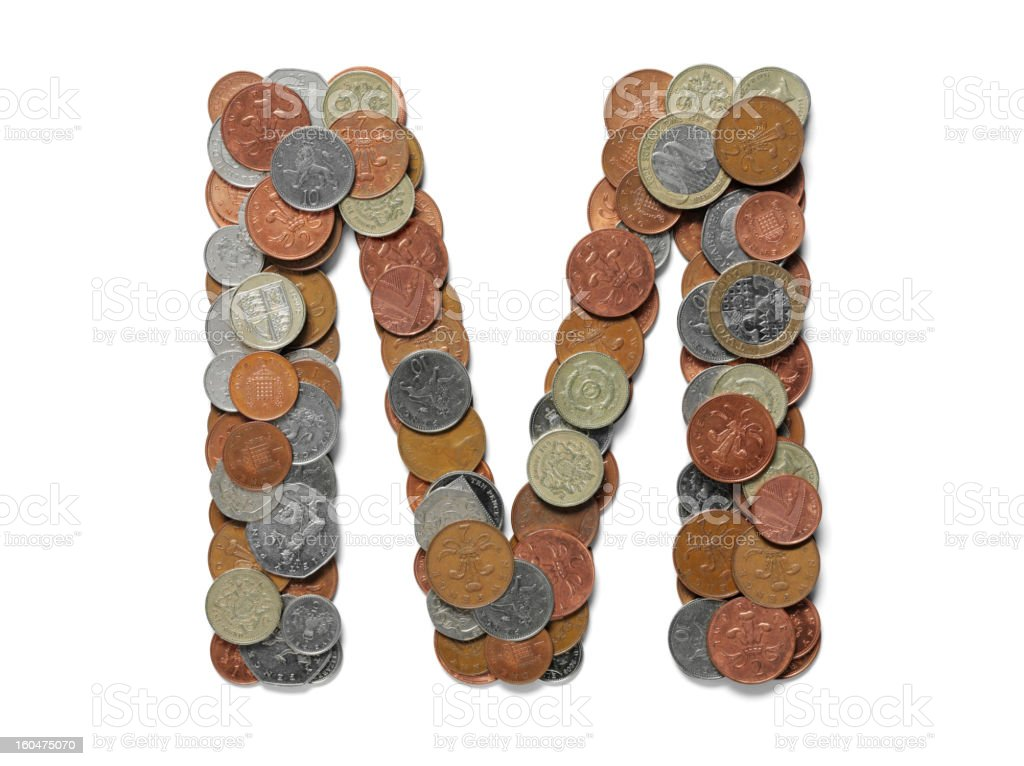 Letter M in British Currency stock photo