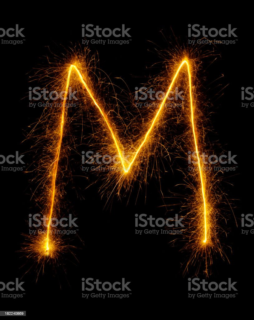 Letter M in Fireworks royalty-free stock photo