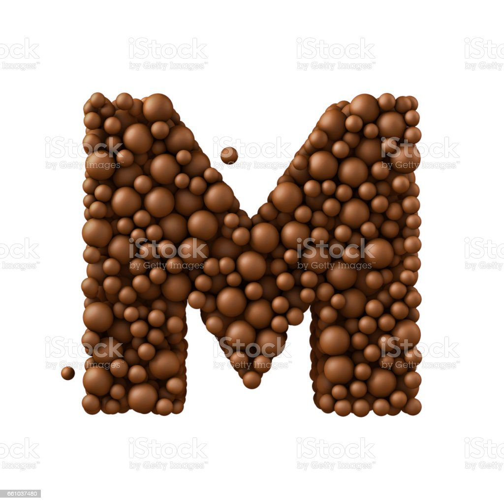Letter M made of chocolate bubbles, milk chocolate concept, 3d render stock photo