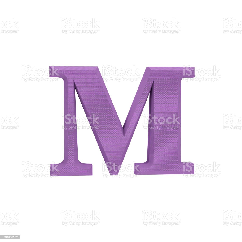 Letter M made of cloth, tissue texture, 3d illustration stock photo