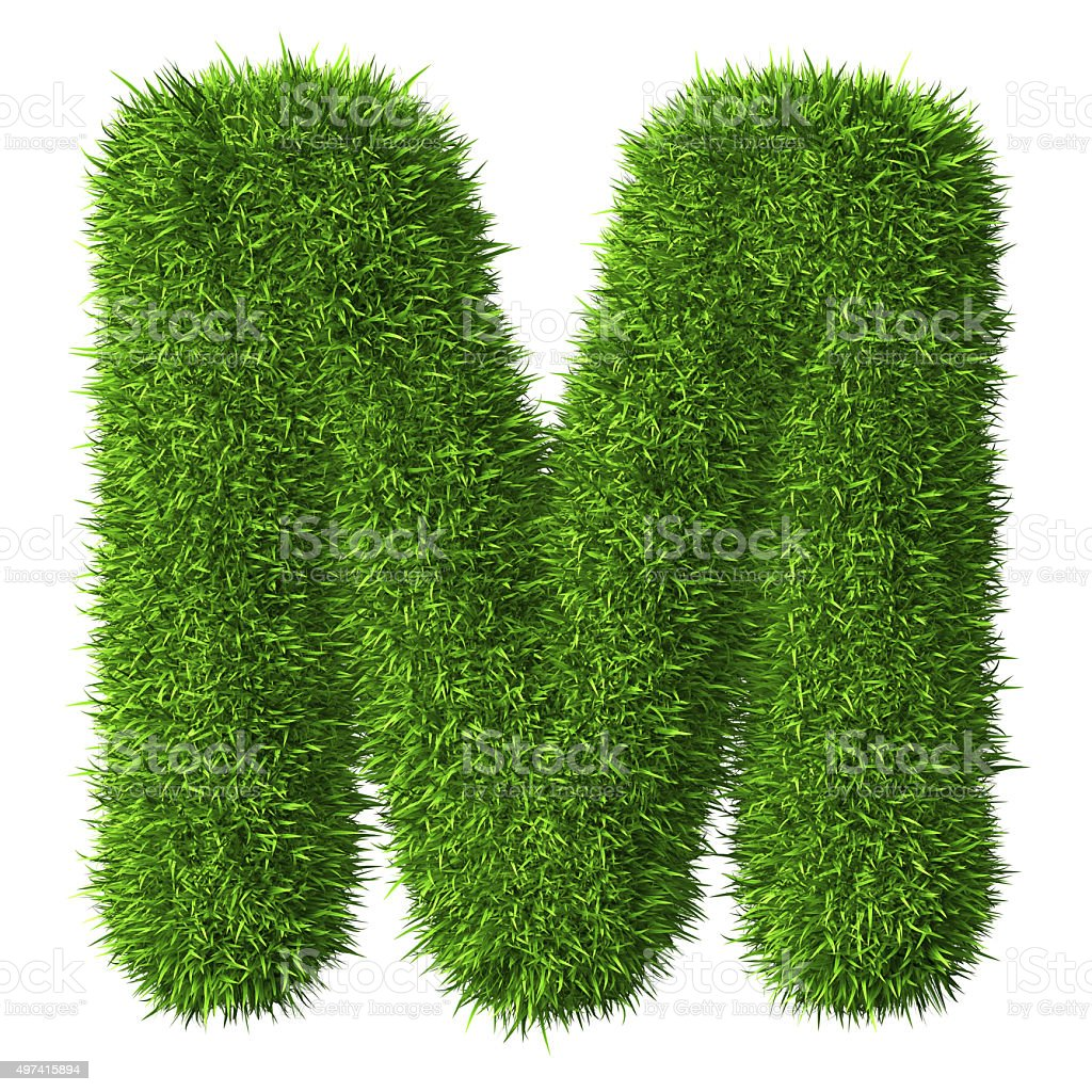 Letter M of grass stock photo