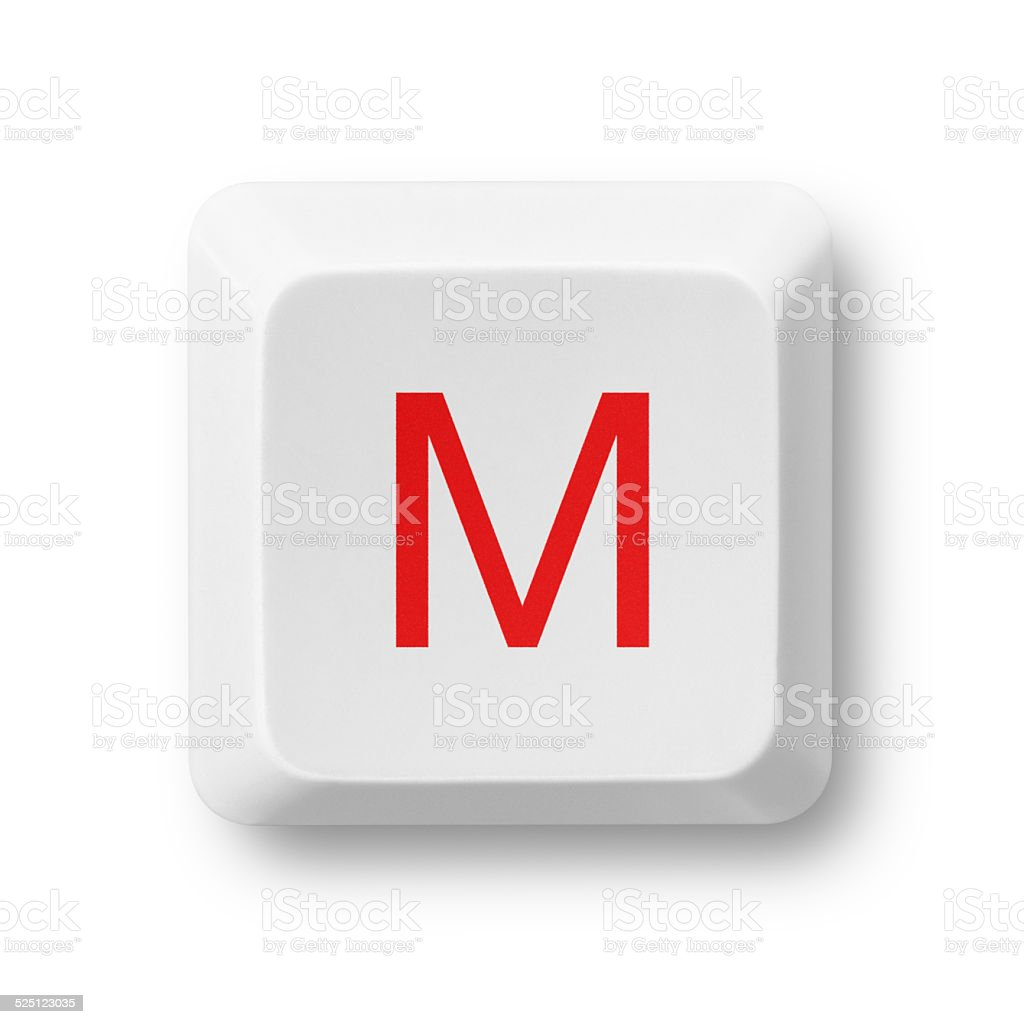 Letter M on a computer key isolated on white stock photo