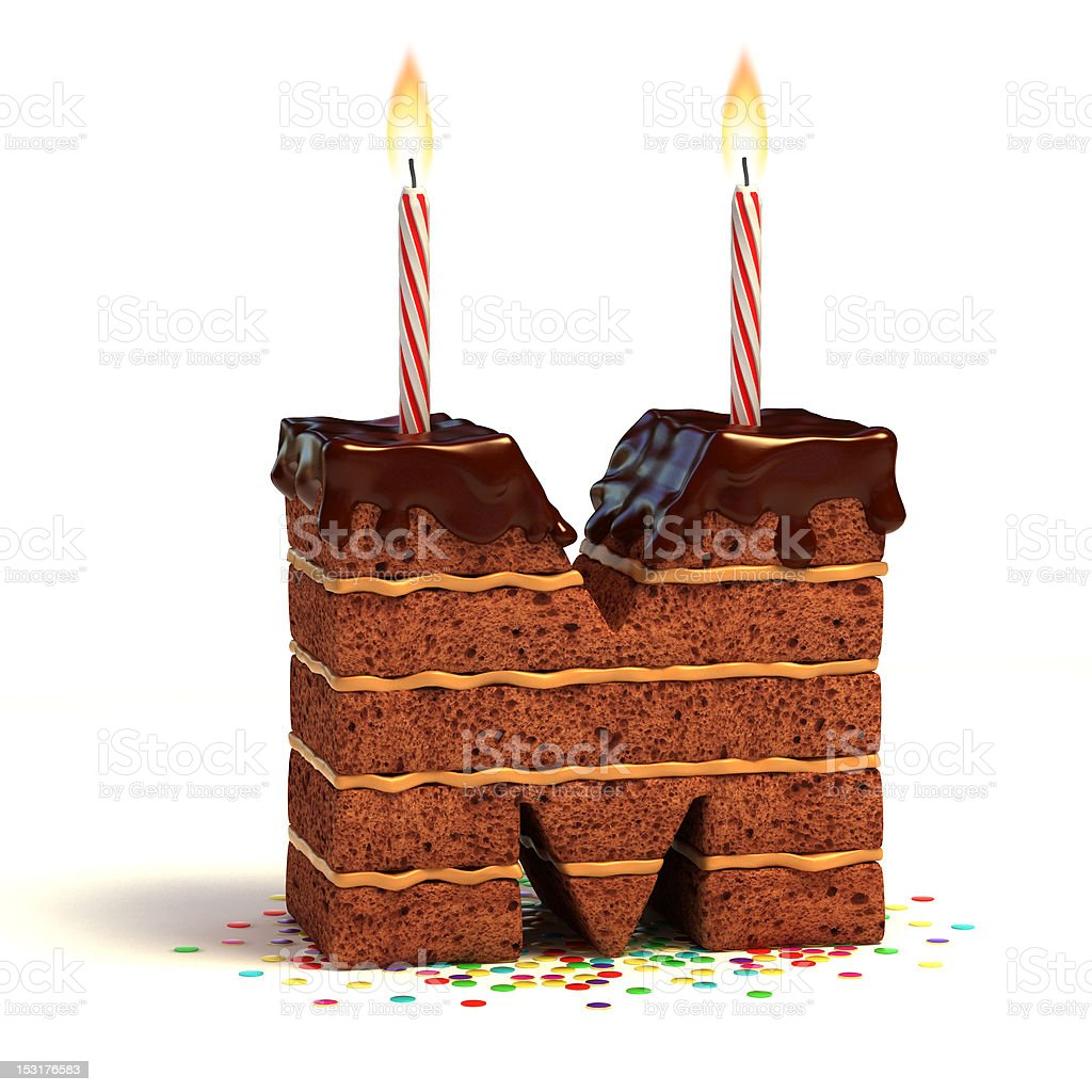 letter M shaped chocolate cake royalty-free stock photo