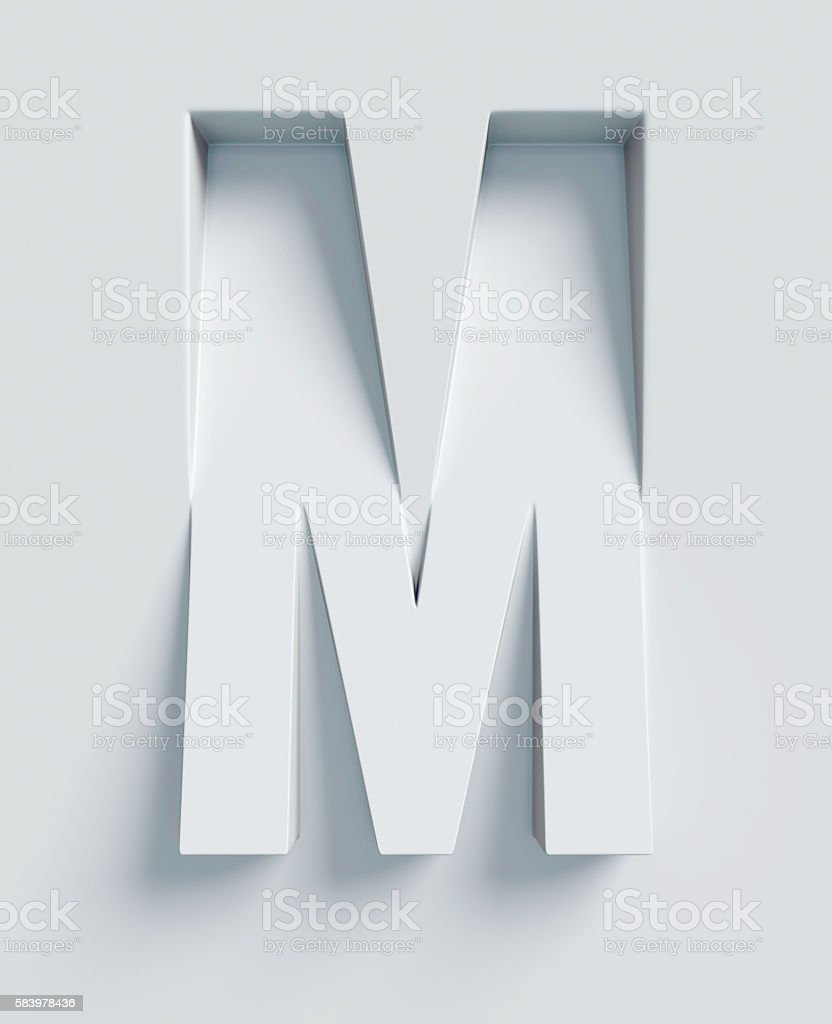 Letter M slanted 3d font engraved and extruded from surface stock photo
