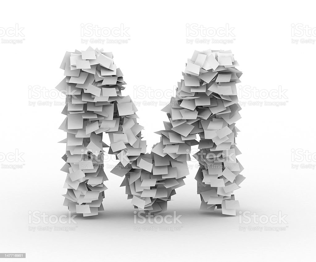 Letter M, stacked from paper sheets royalty-free stock photo