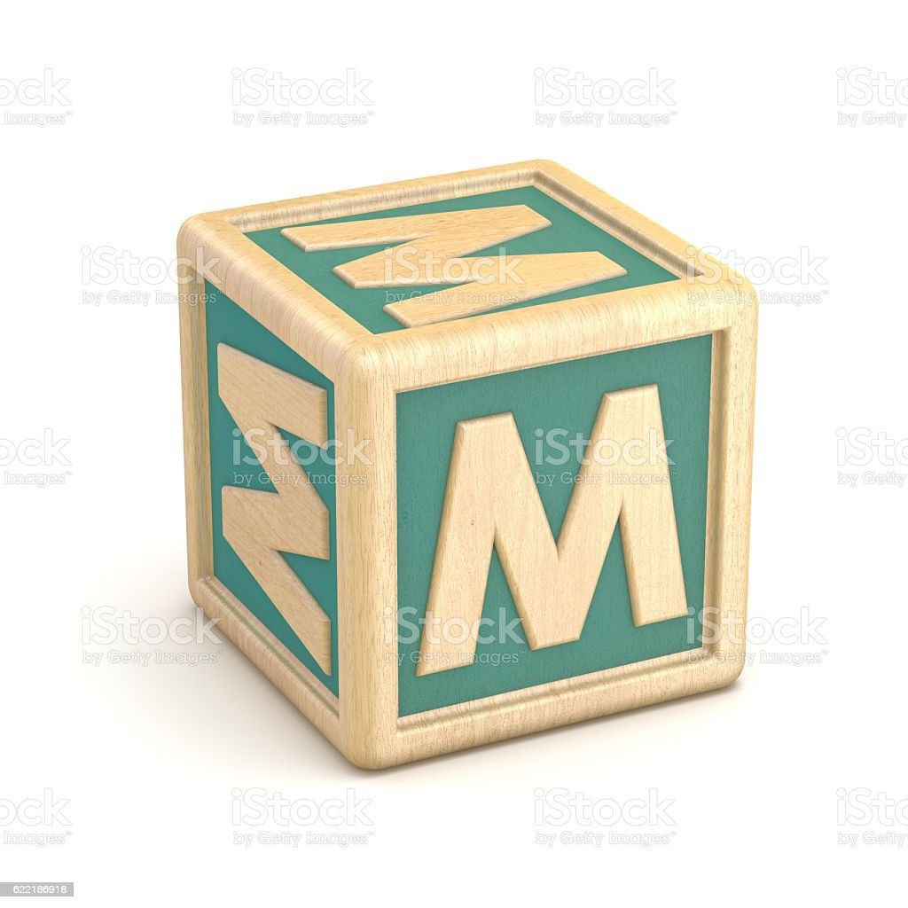 Letter M wooden alphabet blocks font rotated. 3D stock photo