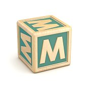 Letter M wooden alphabet blocks font rotated. 3D
