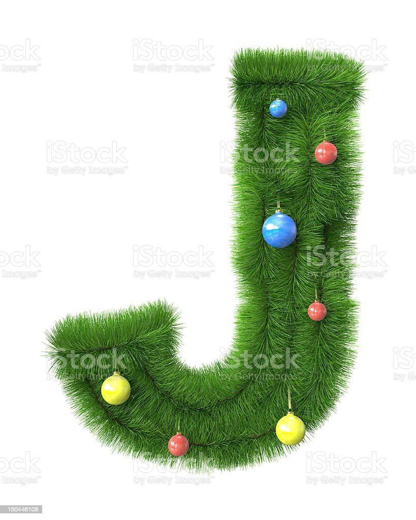 J letter made of christmas tree branches royalty-free stock photo