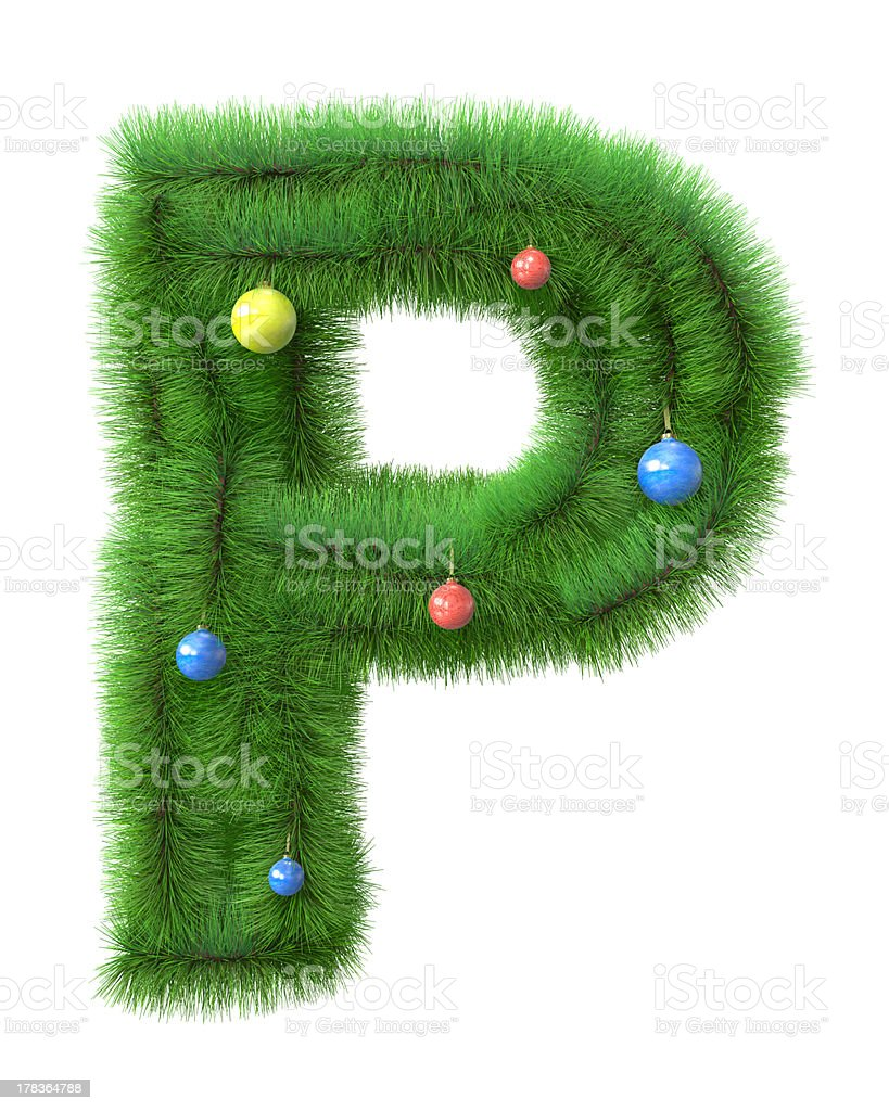 P letter made of christmas tree branches royalty-free stock photo